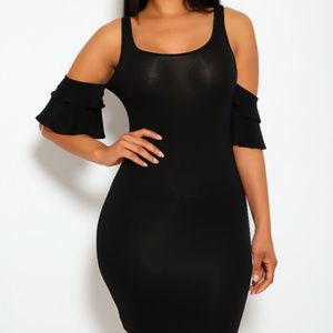 Hot Black Ruffle Bare Shoulder Bodycon Party Dress